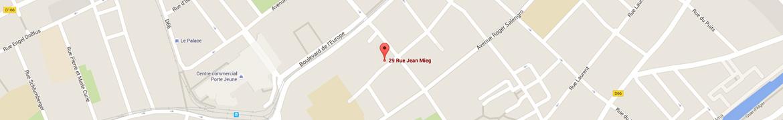 Carte pour situer le cabinet de Maître Majean rue Jean Mieg à Mulhouse